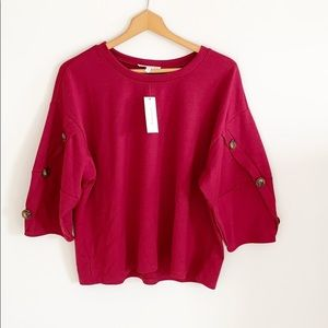 June & Hudson Burgundy Button Sleeve Top